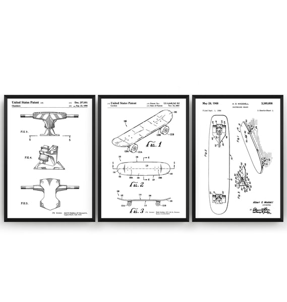 Skateboard Set Of 3 Patent Prints - Magic Posters