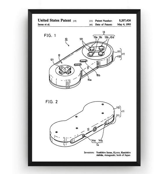 SNES Controller 1993 Patent Print - Magic Posters