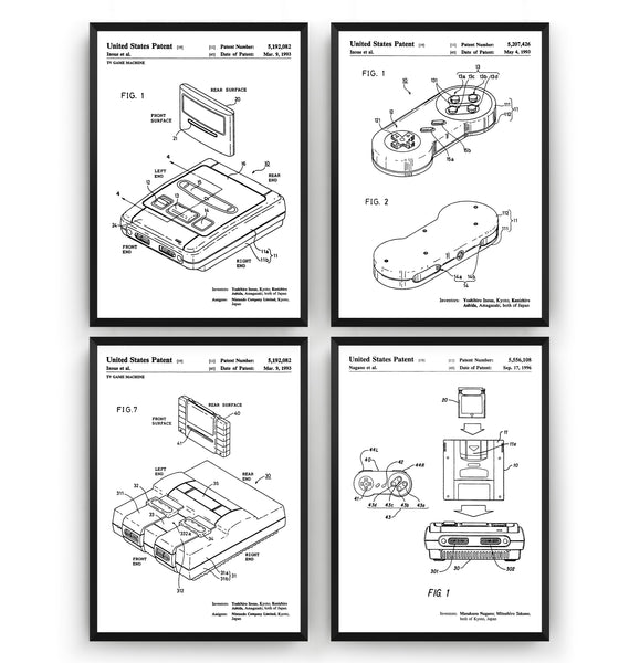 SNES Set Of 4 Patent Prints - Magic Posters