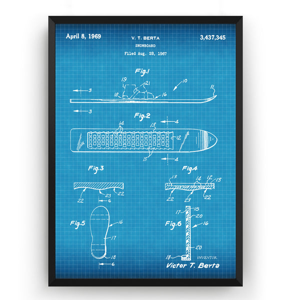 Snowboard 1969 Patent Print - Magic Posters