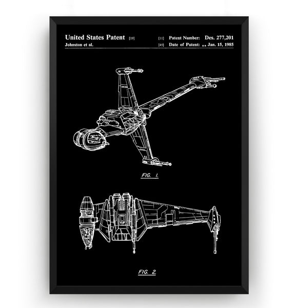 Star Wars B-Wing Star-fighter Patent Print - Magic Posters