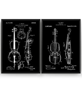 String Instrument Set Of 2 Patent Prints - Magic Posters