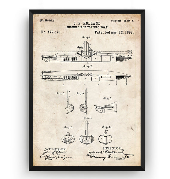 Submarine Torpedo Boat 1892 Patent Print - Magic Posters