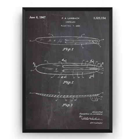 Surfboard 1965 Patent Print - Magic Posters