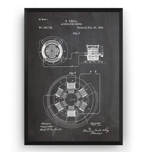 Tesla Alternating Motor Patent Print - Magic Posters