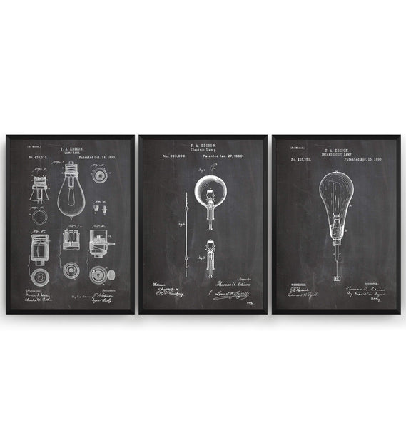 Thomas Edison Set Of 3 Patent Prints - Magic Posters