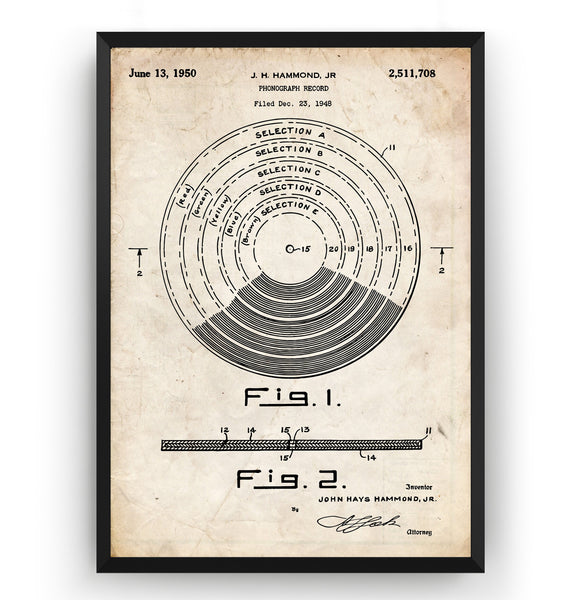 Vinyl Record 1950 Patent Print - Magic Posters