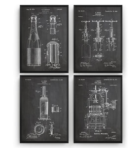 Wine And Champagne Set Of 4 Patent Prints - Magic Posters