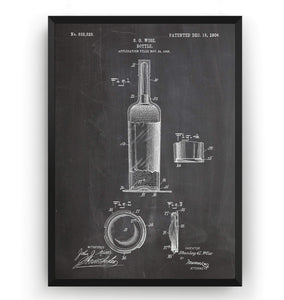 Wine Bottle 1906 Patent Print - Magic Posters