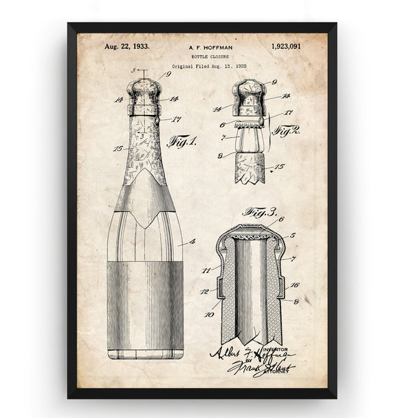 Wine or Champagne Bottle 1933 Patent Print - Magic Posters
