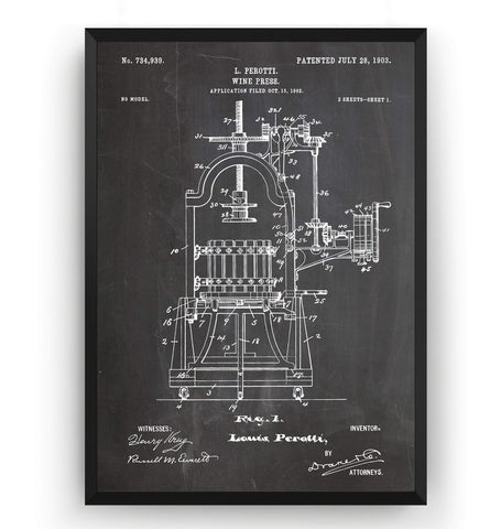 Wine Press 1903 Patent Print - Magic Posters