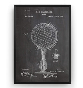 World Globe 1888 Patent Print - Magic Posters