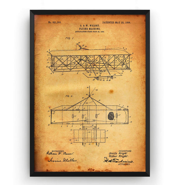 Wright Brothers Flying Machine 1906 Patent Print - Magic Posters