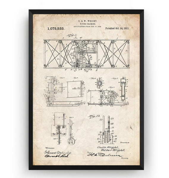 Wright Brothers Flying Machine 1913 Patent Print - Magic Posters