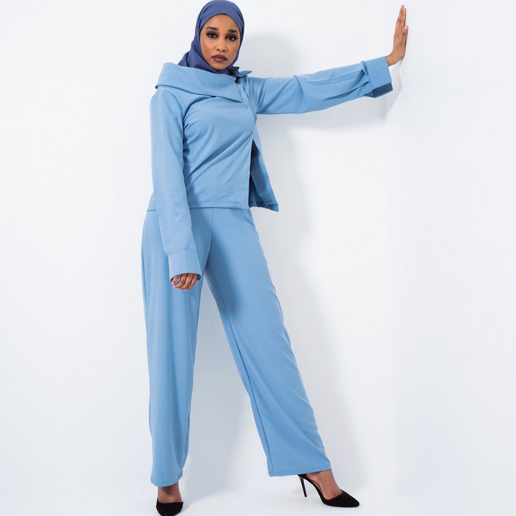 Off-Shoulder Baby Blue Co-ord