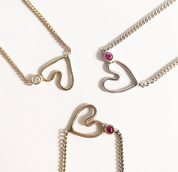 """Forever"" Heart Side Diamond Necklace"