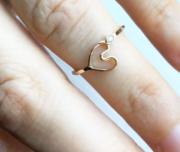 Forever Heart Ring with Black Diamond