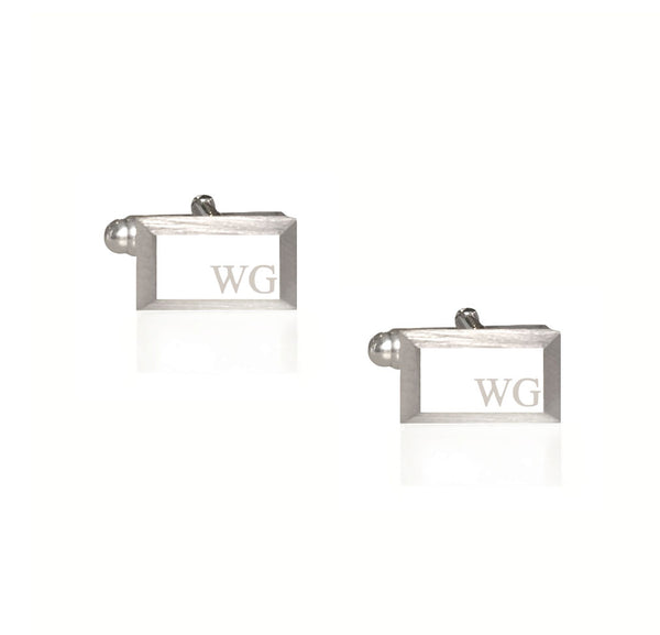 Rectangle Pyramid Cufflinks with Custom Initials