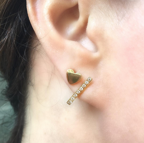 "Mini ""Faith"" Heart + Initial Stud"