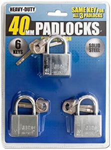 Chrome Finish Keyed Alike Steel Padlocks - Pack of 2