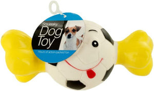 bulk buys Squeaky Sports Ball with Bone Dog Toy (Case of 12)