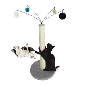 Furhaven Pet Cat Furniture | Tiger Tough Fuzz Ball Hanging Toy Cat Scratcher Post Entertainment Cat Tree Playground for Cats & Kittens, Gray