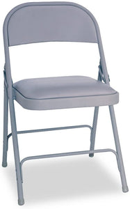 Alera ALEFC94VY40LG Steel Folding Chair with Two-Brace Support, Padded Seat, Light Gray (Case of 4)