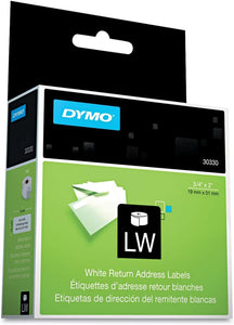 DYMO 30330 LabelWriter Return Address Labels, 3/4 x 2, White, 500 Labels/Roll