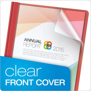 Oxford Clear Front Report Covers, Red, Letter Size, 25 per box (55811EE)