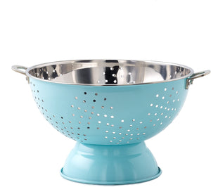 "Old Dutch 769AQ Aqua Blue Footed, 9"" Hammered Colander with Handles, Stainless Steel"