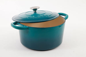 Crock Pot Artisan Round Enameled Cast Iron Dutch Oven, 5-Quart, Teal Ombre