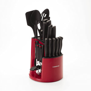 Farberware 30-Piece Spin-and-Store Knife and Kitchen Tool Set