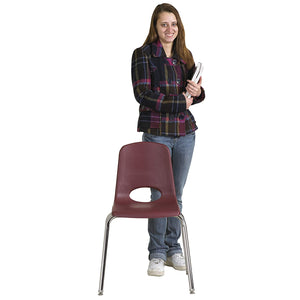 "ECR4Kids 18"" School Stack Chair, Chrome Legs with Nylon Swivel Glides (5-Pack)"