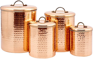 Old Dutch International 843 Canister Set, 4Qt, 2Qt, 1½Qt,1Qt, copper