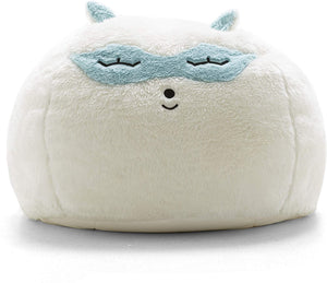 Big Joe Lux Wild Bunch Raccoon, Super Soft Plush Bean Bag, White/Blue
