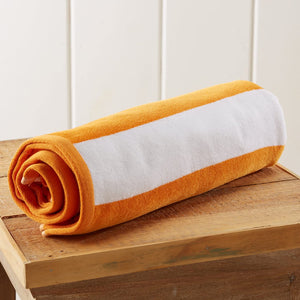 Great Bay Home 100% Cotton Plush Cabana Stripe Oversize Velour Beach Towel (40x70) Brand. (Orange)
