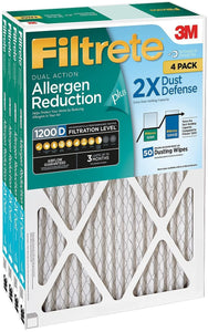 Filtrete Dual-Action Micro Allergen Plus Dust Defense Filter, 14x20x1, Pack of 4