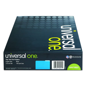 Universal 10521 File Folders, 1/3 Cut One-Ply Top Tab, Legal, Blue/Light Blue (Box of 100)
