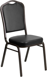 Flash Furniture 4 Pk. HERCULES Series Crown Back Stacking Banquet Chair in Black Vinyl - Gold Vein Frame