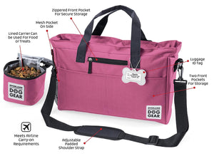 Dog Travel Bag - Day Away Tote Dogs - Includes Bag, Lined Food Carrier, and Luggage Tag (Pink)