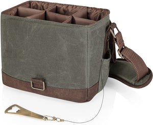 LEGACY - a Picnic Time Brand 6-Bottle Beer Caddy with Integrated Bottle Opener, Khaki Green/Brown