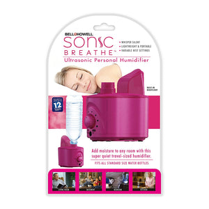 Bell + Howell Sonic Breath Ultrasonic Personal Humidifier, Lightweight and Portable, Variable Mist Settings