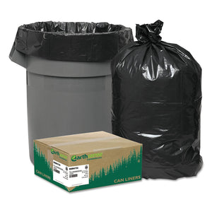 Earthsense Can Liners, 56 Gallons, 1.25 Milliliters, 43 x 48, Black, 100/Carton (RNW4750)