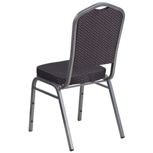 Flash Furniture 4 Pk. HERCULES Series Crown Back Stacking Banquet Chair in Black Patterned Fabric - Silver Vein Frame