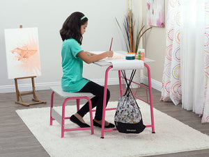 SD Studio Designs Project Center, 55125 Craft Table Play Desk with Bench, Pink/Gray