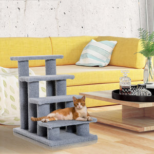 "PawHut 25"" 4-Step Multi-Level Carpeted Cat Scratching Post Pet Stairs - Grey"