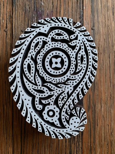 Large Wooden Paisley Printing Block