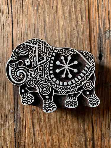 Medium Wooden Holi Elephant Printing Block