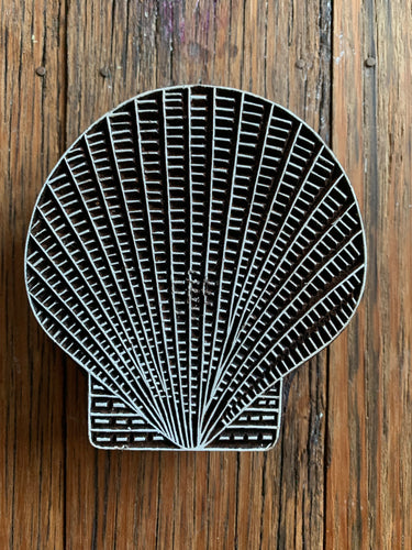 Medium Wooden Scallop Shell Printing Block