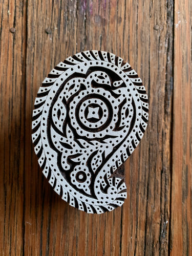 Medium Wooden Paisley Printing Block